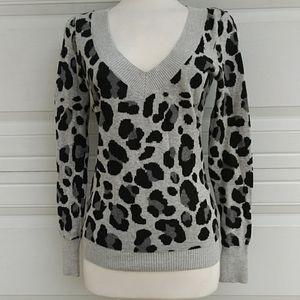 Express Deep V-neck Leopard Print Sweater